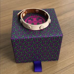 Tory Burch Nude Saffiano Leather Bracelet